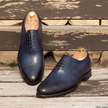 Load image into Gallery viewer, Oscar Patina Navy Blue Goodyear Welted Wholecut Oxford