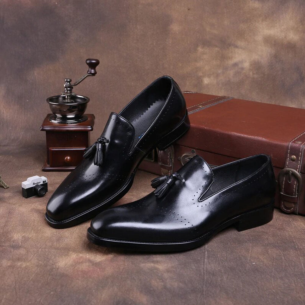 Effron Goodyear Welted Black Tassel Loafer