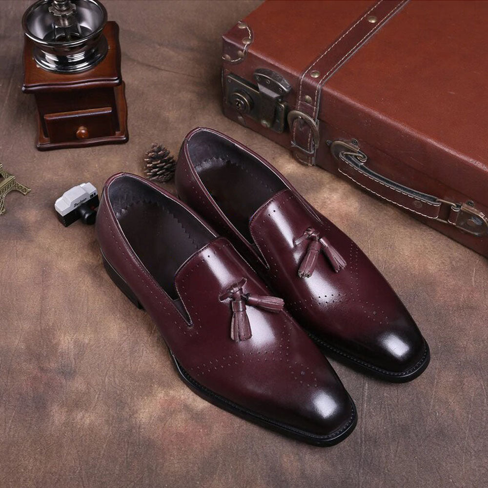 Effron Goodyear Welted Burgundy Tassel Loafer