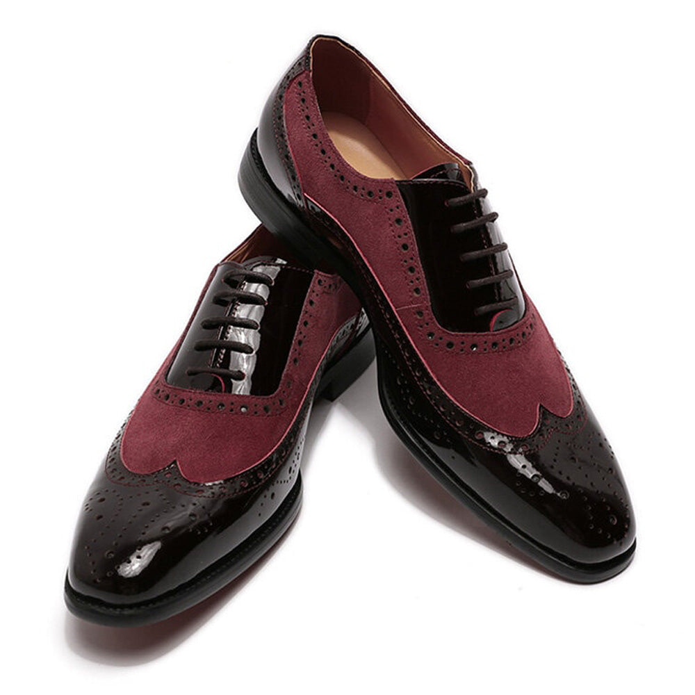 John Goodyear Welted Black Patent & Burgundy Suede Leather Wingtip Oxford