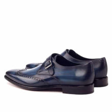 Load image into Gallery viewer, Robert Navy Blue Patina Goodyear Welted Single Monk Strap