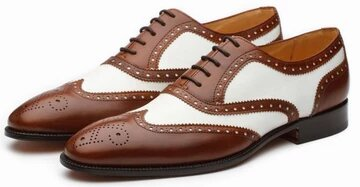 Tyrel Goodyear Welted Brown & White Brogue Oxford