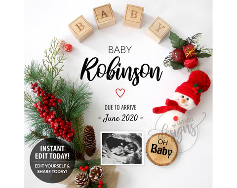 Christmas Pregnancy Baby Announcement with Snowman