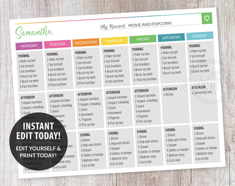 Routine Charts for Teen, Rainbow Weekly Chore List Template, Responsibility Chart for Teens