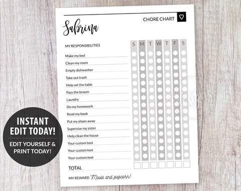 Routine Charts for Teen, Gray Weekly Chore List Template, Responsibility Chart for Teens