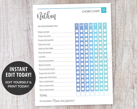 Routine Charts for Teen, Blue Weekly Chore List Template, Responsibility Chart for Teens