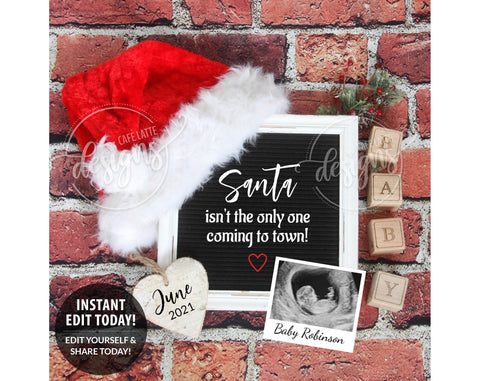 Santa Coming to Town Christmas Pregnancy Baby Announcement