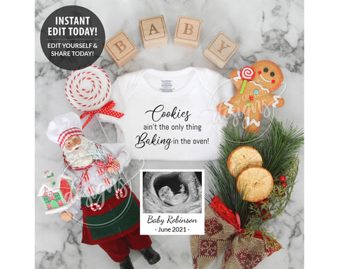 Cookies Baking in the Oven Christmas Pregnancy Baby Announcement