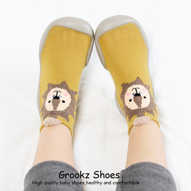 Premium Baby Sock Shoes - Yellow Lion