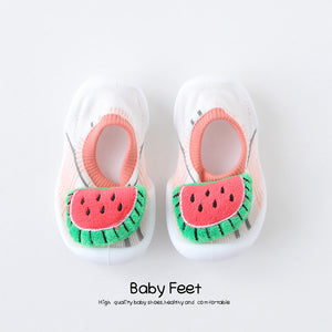 Open image in slideshow, Baby Doll Sock Shoes - Pink Watermelon