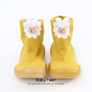 Open image in slideshow, Tall Animal Sock Shoes - Yellow Sheep
