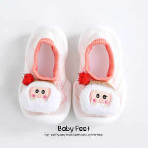 Open image in slideshow, Baby Doll Sock Shoes - Pink Santa