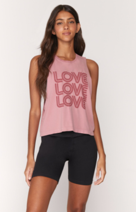 SPIRITUAL GANGSTER LOVE ACTIVE FLOW TANK- ROSE