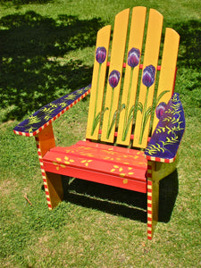 Hand painted tulip deck chair