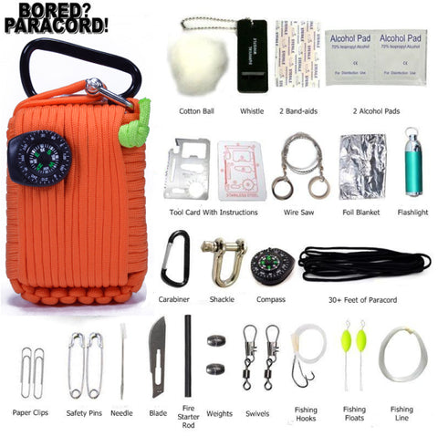 Orange Paracord Survival Tool Kit