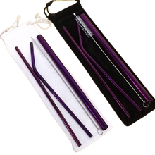 Load image into Gallery viewer, Premium Bundle of Stainless Steel Straws Purple Color
