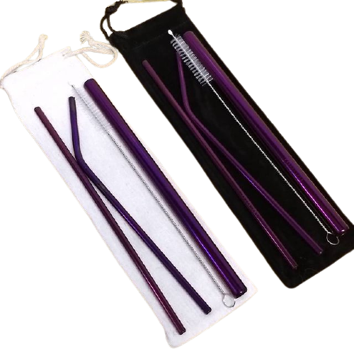 Premium Bundle of Stainless Steel Straws Purple Color