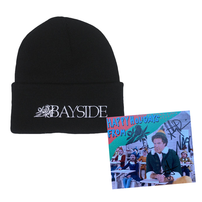 Text Logo Embroidered Black Beanie