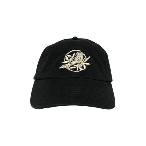 Bird Embroidered Black Dad Hat