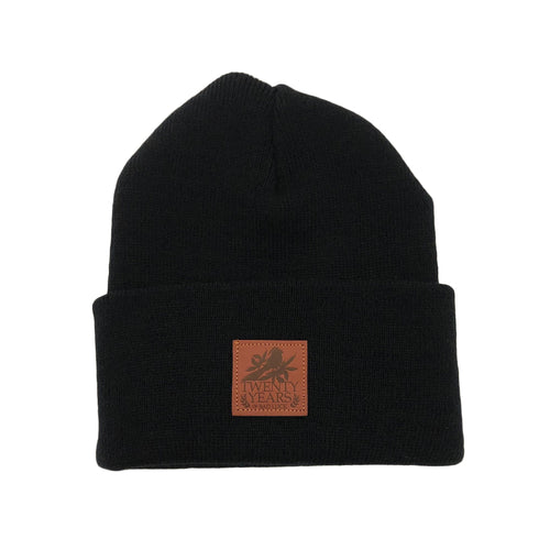 Twenty Years Black Leather Patch Beanie