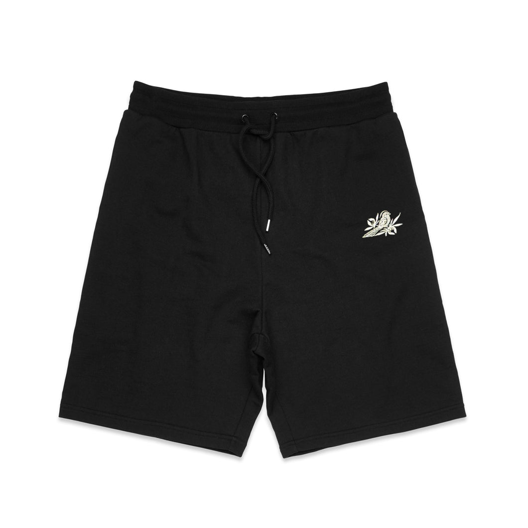 Bird Embroidered Black Shorts