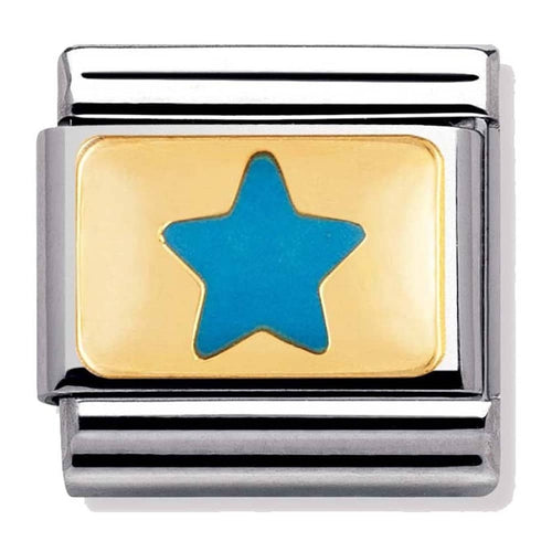 Gold and Enamel Blue Star 030209 11