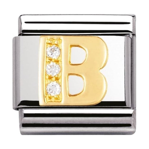 Gold and Cubic Zirconia Letter B Charm