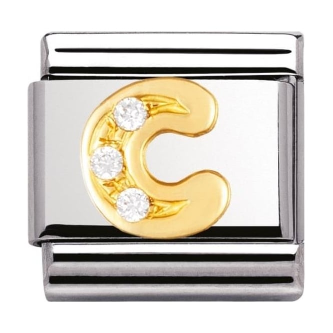 Gold and Cubic Zirconia Letter C Charm