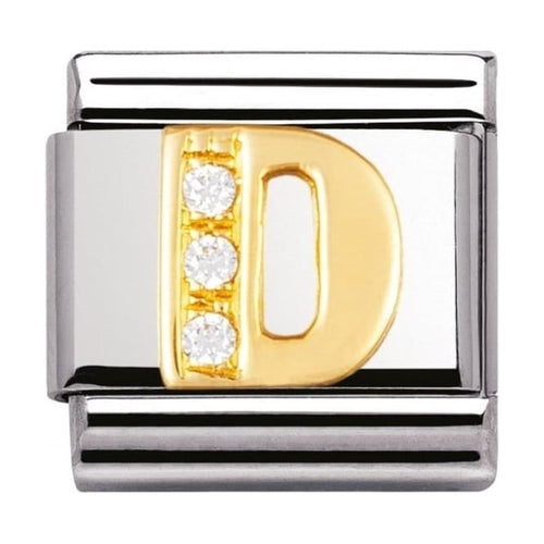 Gold and Cubic Zirconia Letter D Charm