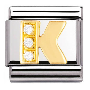 Gold and Cubic Zirconia Letter K