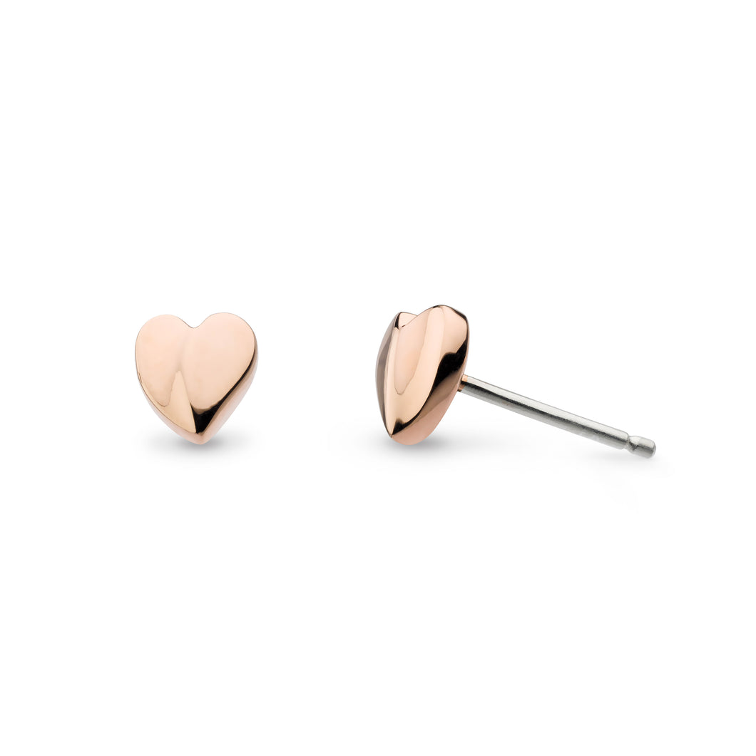 Kit Heath Miniature Sweet Heart Rose Gold Plate Stud Earrings