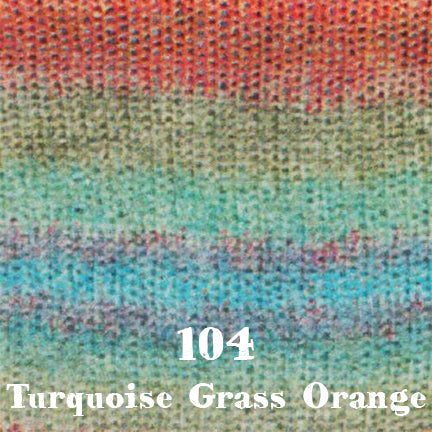 starwool lace color 104 turquoise grass orange