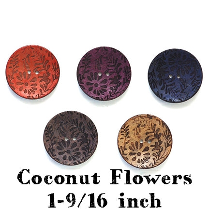 coconut flowers button 1-9/16th inch main
