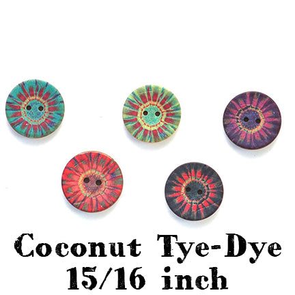coconut tye dye button 15/16th inch main