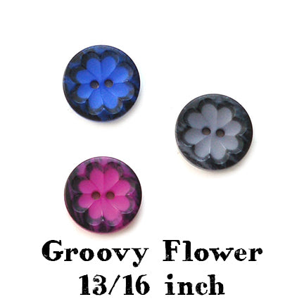 Groovy flower button 13/16 inch main