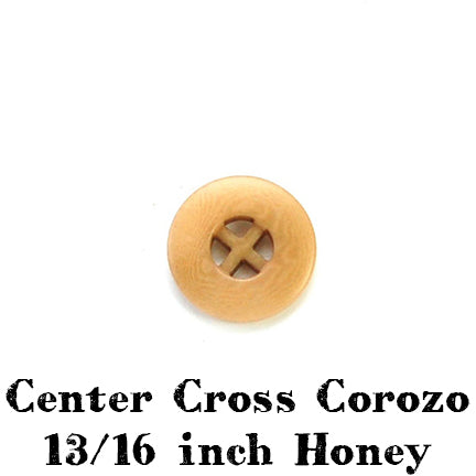honey tan center cross corozo button 13/16 inch
