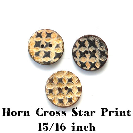 horn cross star print button 15/16 inch