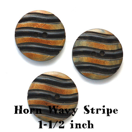 horn wavy stripe button 1-1/2 inches