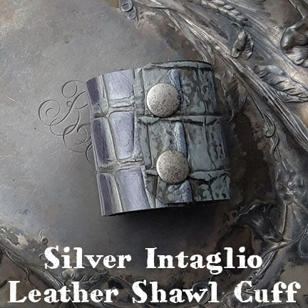 Jul Silver Intaglio Leather Shawl Cuff