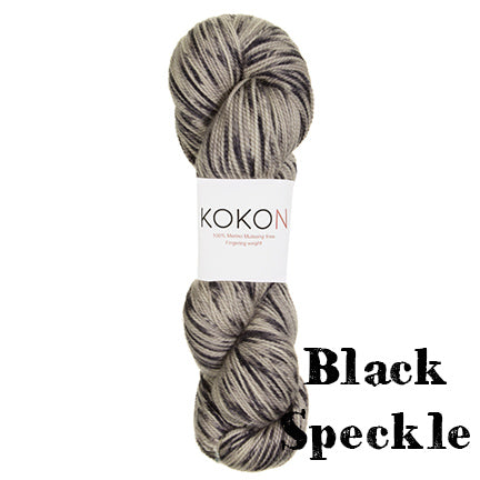 kokon fingering black speckle