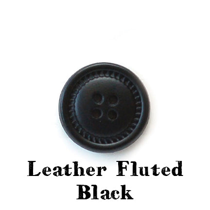 leather fluted button black