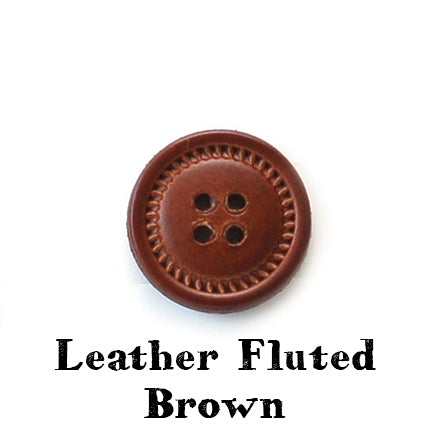 leather fluted button brown