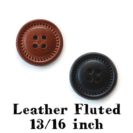 leather fluted button 13/16 inch main
