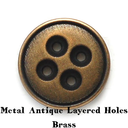 metal antique layered holes button brass