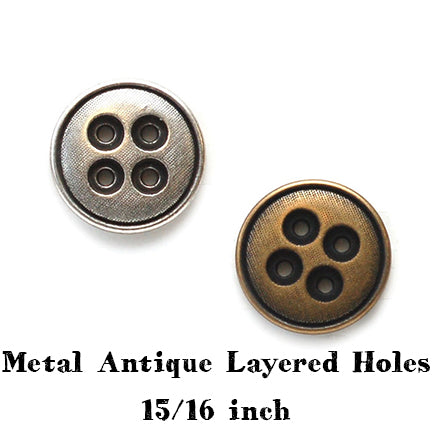 metal antique layered holes button 15/16 inch main