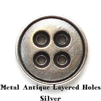 metal antique layered holes button silver