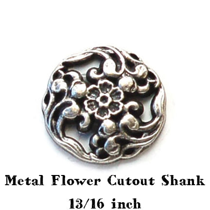 Metal flower cutout button with shank 13/16 inch