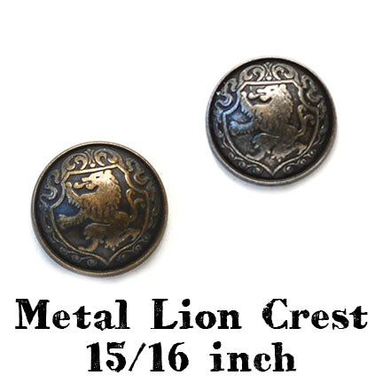 metal lion crest 15/16th inch main