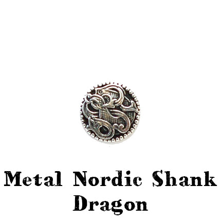 metal nordic button with shank dragon