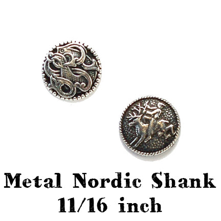 metal nordic button with shank 11/16 inch main